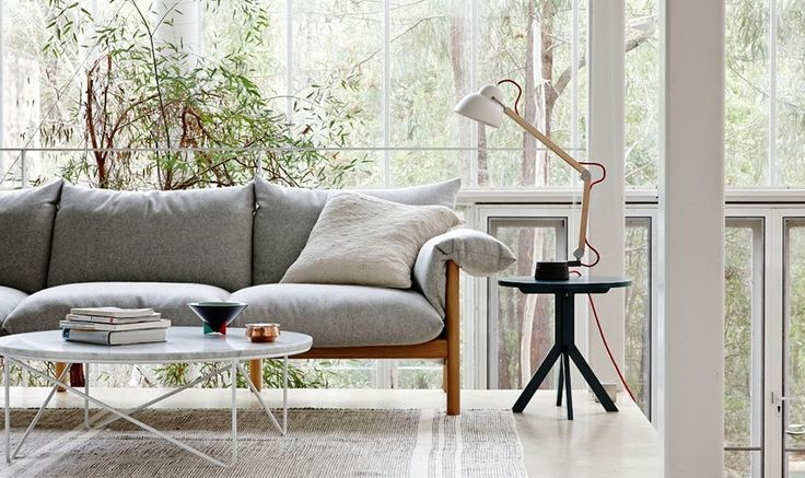 Dexter side table in black. Efficiently designed by Jardan from one piece of timber. Also love that Wilfred sofa and Fred coffee table, both by Jardan Lab.