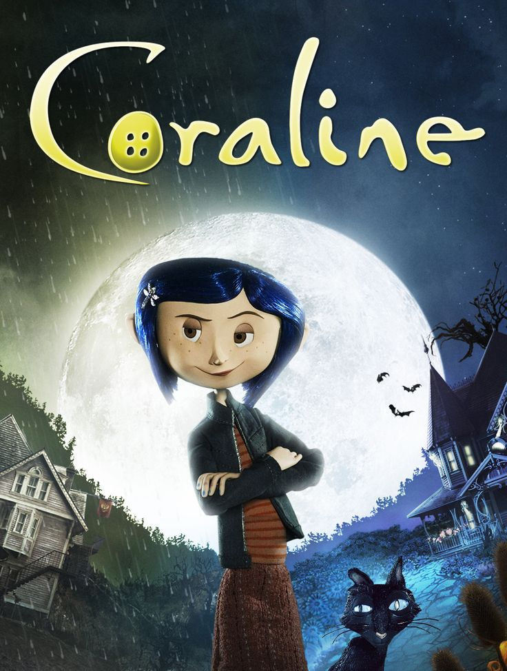 "This is the front cover image of Neil Gaiman's book Coraline.  I found the best version of it in a search which led me to this site. The loose, swoopy font is appropriate a YA book, particularly one that was made into an animated film.  The use of the button for the lower case ""o"" introduces a very significant image from the book (and later, the movei)."