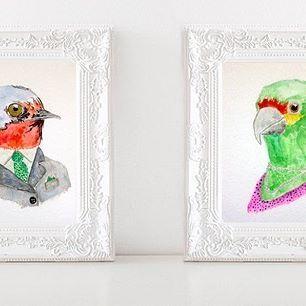 Mr. and miss Birdy. Disponibles. . . . #hechoamano #watercolor #santiago #acuarelado #acuarela #wasserfarben #watercolorillustration #kidsillustration #ilustradoraschilenas ##vogel #bird #instabird #ave #vogel #onsale