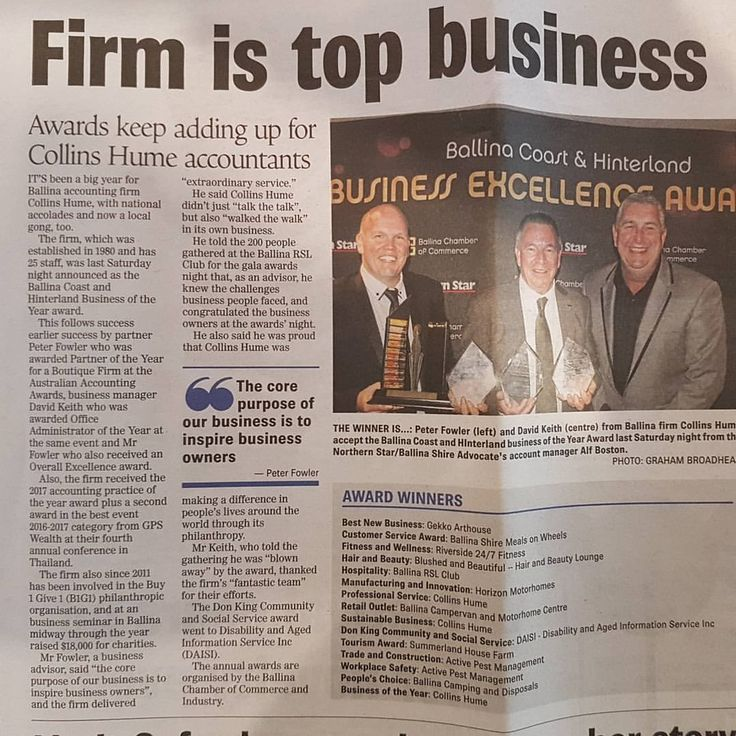 Some thoroughly deserved #freepress for some very talented #regional #accountants who keep on smashing the bar. Congratulations @CollinsHume! #beingballina #morethanaccountants #professionalbusiness #sustainablebusiness #businessoftheyear #awards