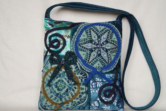 Green turquoise mandala crocheted lace medium size by bokrisztina