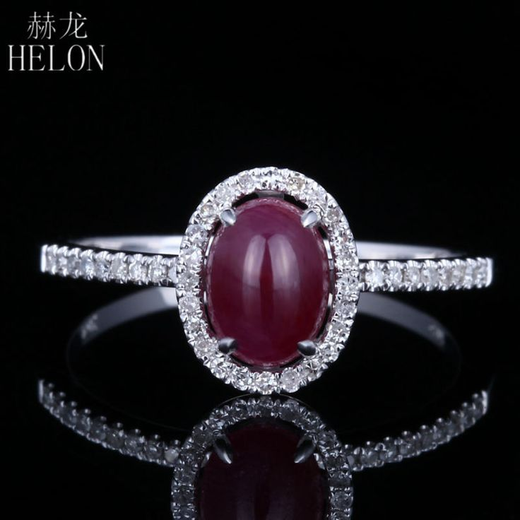<b>HELON</b> Vintage <b>Natural</b> Ruby Engagement Ring Solid 14K White ...