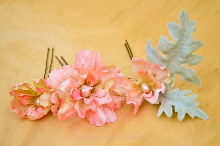 BRENDA LEE A set of 3 Delphinium Flower U pins and a leaves U pin/floral hair accessory 40929 by BoutiquebyBrendaLee on Etsy