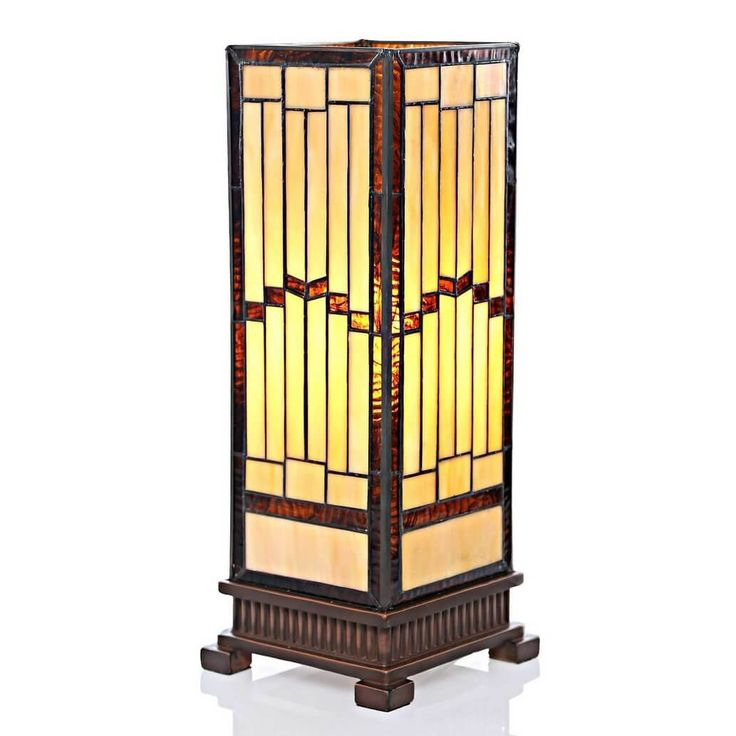 Ractangle Quoizel Tiffany Table Lamp Yelow Japan Or Chinese Style Old Era  And Very Googd For