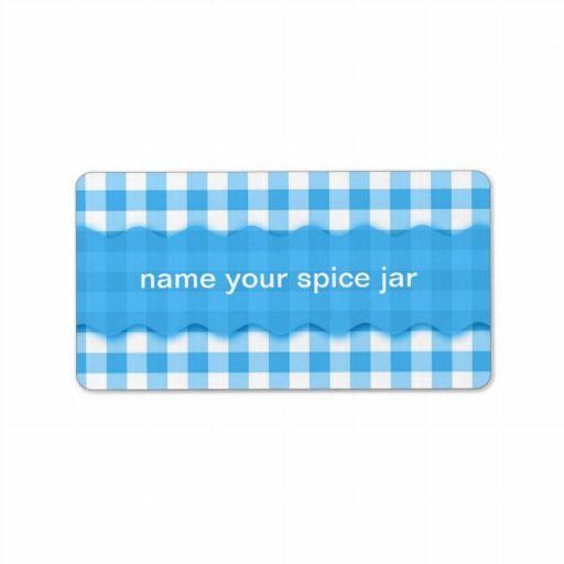 Blue Gingham Checkered Design Kitchen Label