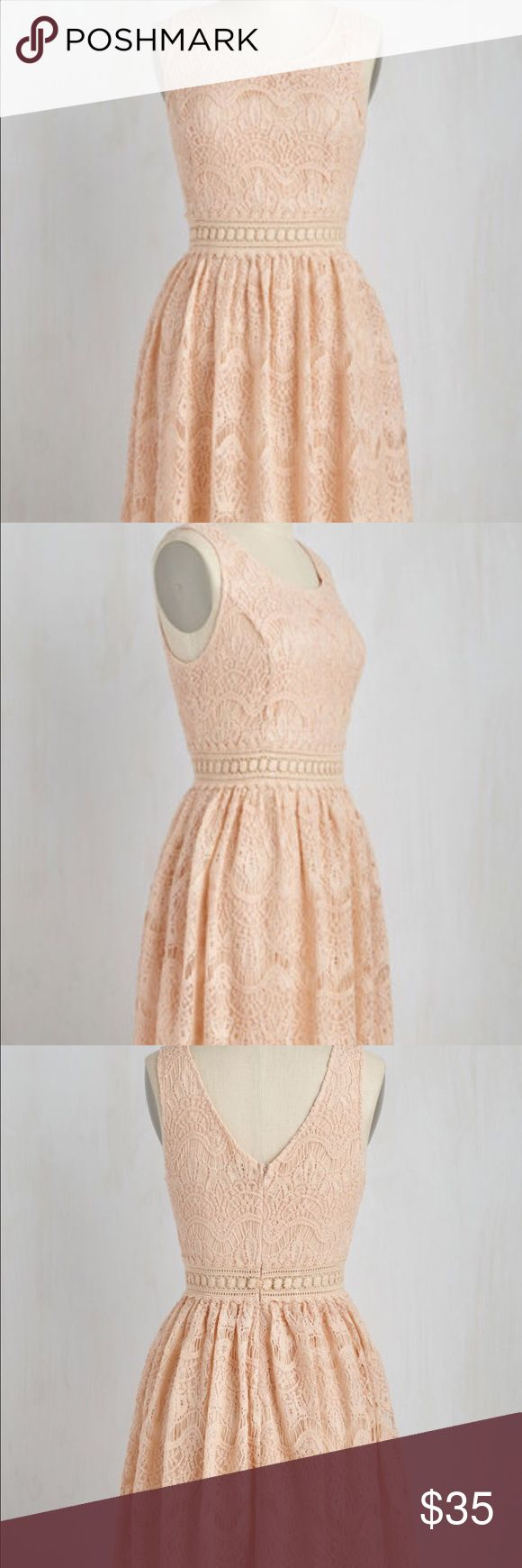 Pretty peach lace dress from Modcloth size S EUC, only worn twice peach lace dress from Modcloth.  Size S, sheer through the waist band, with an extremely flattering fit.  I just never reach for it! ModCloth Dresses