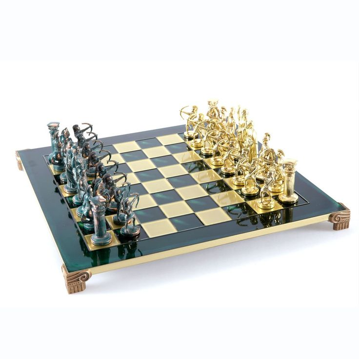 Chess Set  Archers (Large) - Gold/Silver - Handcrafted Metallic Chess green