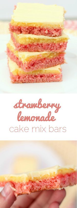 Love these Strawberry Lemonade Cake Mix Bars from SixSistersStuff.com!