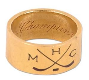 Billy Barlow's original Stanley Cup ring. This ring resides on display at Hockey Hall of Fame. The only other 1893 ring known to still exist was found in a Vancouver attic in 2009 and sold at auction for about $60,000. It belonged to George Lowe.