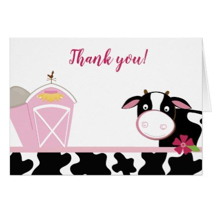 Pink Cow Girl Dairy Cows Farm Thank you Notes - baby gifts child new born gift idea diy cyo special unique design