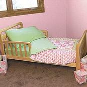Hula Baby Pink and Green Hawaiian Tropical Flowers 4 Piece Toddler Bedding Set
