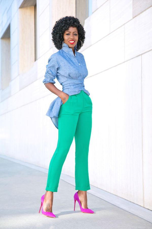 Belted Denim Tunic + Ankle Length Pants