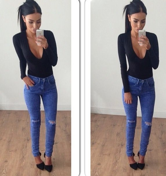 simple date night fit with a slicked pony