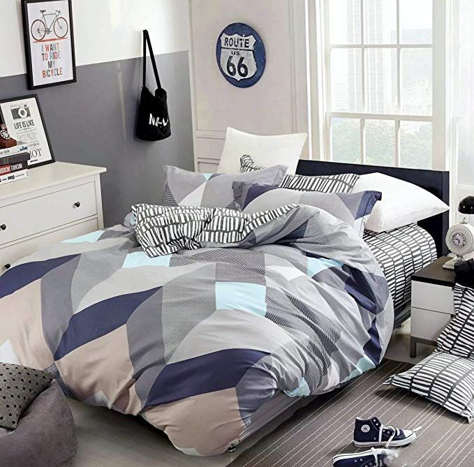 Amazon Com Eikei Home Minimal Style Geometric Shapes Duvet Quilt Cover Modern Scandinavian Design Geometric Duvet Cover Modern Scandinavian Design Bed Design