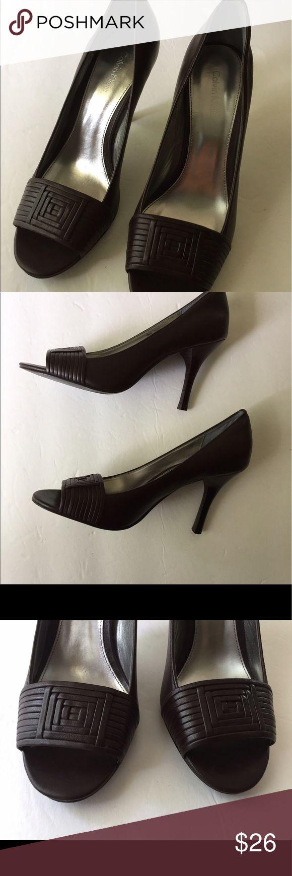 """Calvin Klein Brown Spike Heels 6.5 Medium Peep Toe Very elegant: 3 1/2"""" spike Heels; very flattering!! Calvin Klein Shoes Heels"""