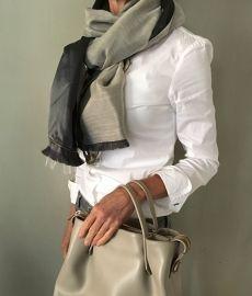 Dubbelzijde shawl taft   nachtblauw/beige