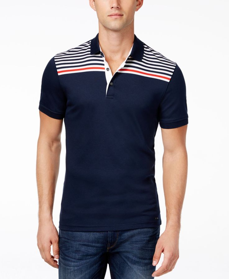 Cultivate your sporty casual look with the refined style of this Pop polo from Michael Michael Kors, designed with a flattering fit embellished with a stripe pattern at the yoke. | Cotton | Machine wa