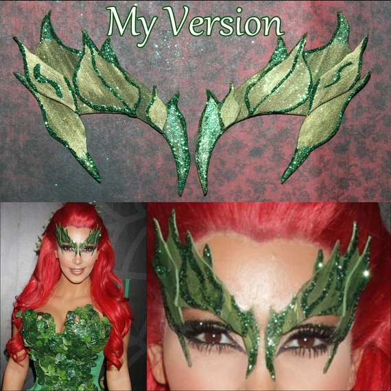Comic Con, Cosplay Kim Kardashian dressed as Poison Ivy when hosted the Midori Green Halloween Party at Lavo in New York City. (October 29, 2011)  This style leaves have been requested, so I made them. I think they came out significantly close to what she wore.