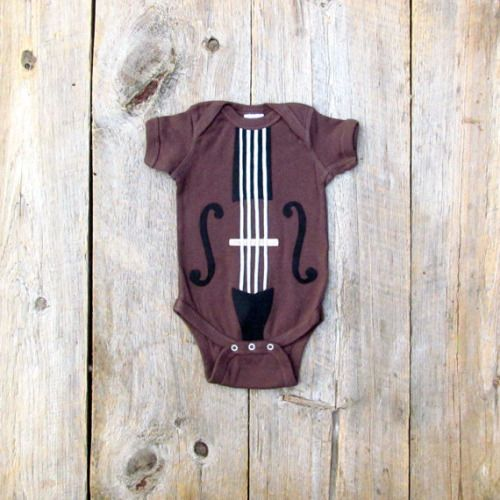 Baby Violin or Cello Onesie. The Yo Ma Ma. This baby onesie is definitely catered to the musician. It's a violin or a cello - just depends on how large your baby is. I had cellos - exclusively. Hand cut Eco felt appliqués attach to this chocolate brown onesie to give the illusion of a string instrument. You can hold your baby and a violin. Everybody wins!