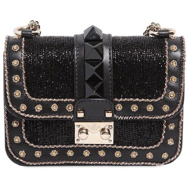 VALENTINO Mini Lock Embellished Leather Bag ($3,295) ❤ liked on Polyvore featuring bags, handbags, shoulder bags, bolsas, clutches, valentino, studded leather handbag, studded purse, real leather handbags and genuine leather shoulder bag
