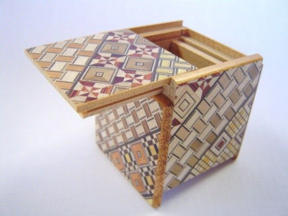 Traditional Japanese Puzzle box Himitsu bako 22inch56mm Cube Open by tomomaru, $22.00