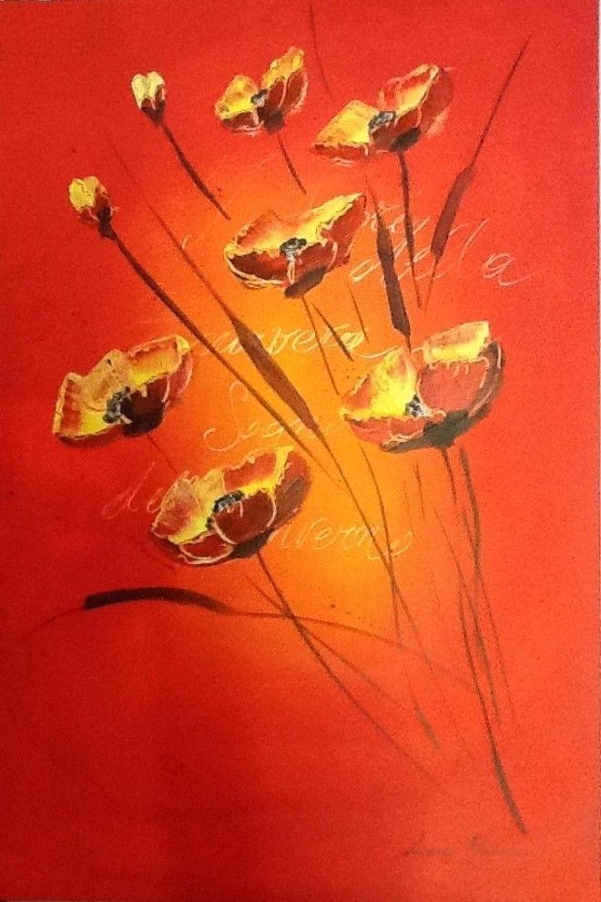 (¯`'•.Dipinto PAPAVERI.•'´¯) quadro dipinto a mano moderno,  60X40
