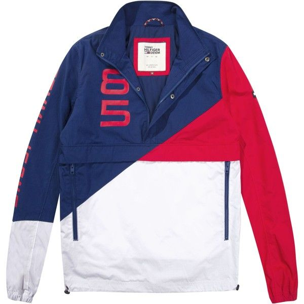 Tommy Hilfiger Tommy Jeans Retro Block Pullover Jacket ($210) ❤ liked on Polyvore featuring men's fashion, men's clothing, men's outerwear, men's jackets, men coats and jackets, mens leather sleeve jacket, men's stand up collar jacket, mens pullover windbreaker, mens pullover windbreaker jacket and mens half zip pullover