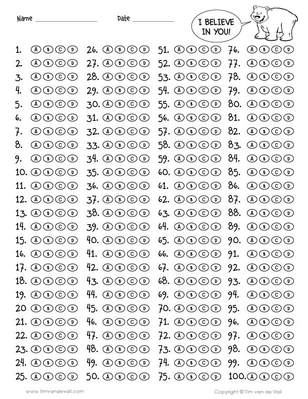 This is a graphic of Ridiculous Free Printable Scantron Bubble Sheet