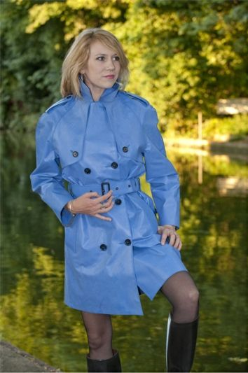 Blue Rubber Raincoat