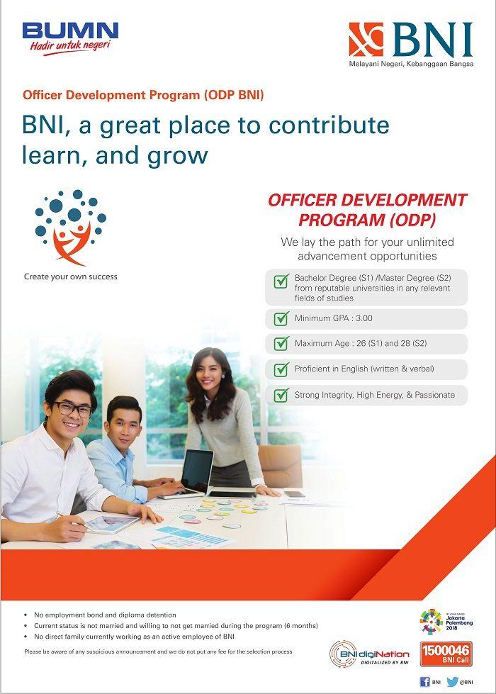 JOIN!  Officer Development Program (ODP BNI) from Bank BNI for Bachelor/Master Degree >> http://bit.ly/2vHxNCa   DEADLINE: 20 August 2017 #itbcc #karirITB #ITBcareer