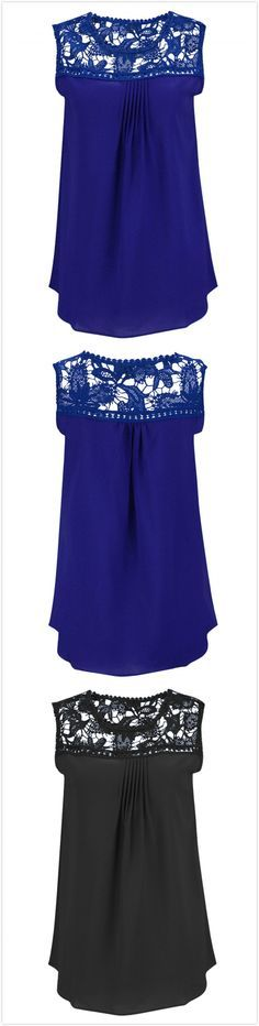 Find a cool and chic blouse for this hot summer?Check about this one~round neck, pullover styling, sleeveless, lace decoration, hollow out and solid color. More surprise from http://www.azbro.com