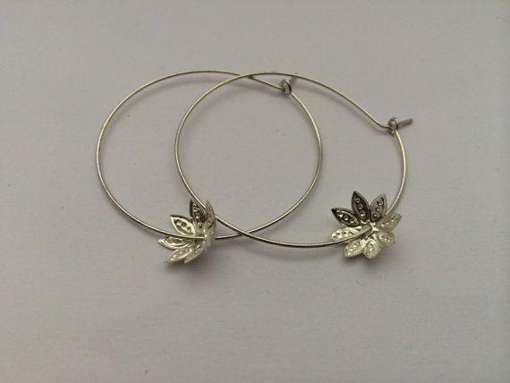 Silver hoops with delicate flower charm by BillyandElizabeth, $5.00