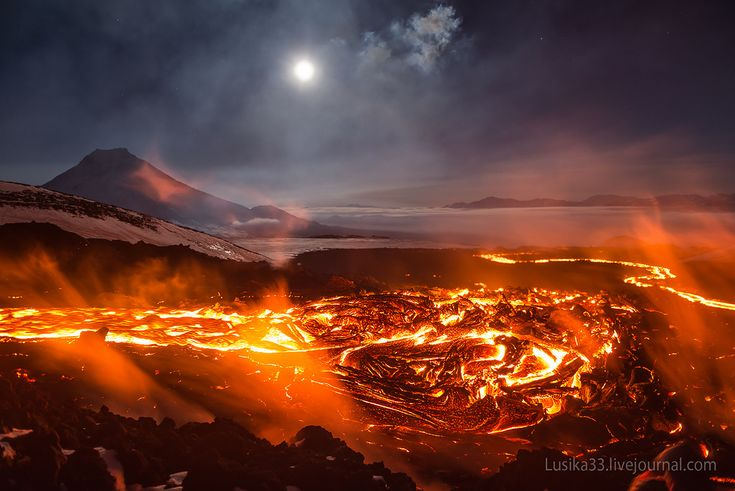 """Lava Mountains photos by Lusika33 Do you ever see pictures of lava and think: """"that doesn't look so hot, what's the big deal""""? A group of intrepid Russian photographers must have had the same idea when they ventured to the volcanic complex of Tolbachnik on the Kamchatka Peninsula. Consisting of two active volcanoes Plosky and Ostry, the pair put on some impressive fireworks when it recently erupted in November, 2012, with the lava flow overtaking buildings 4 kilometers away."""