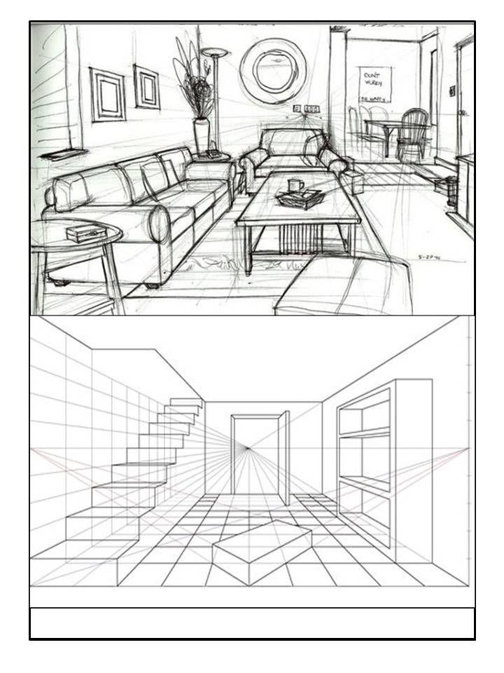 Dibujo De Espacios Perspectiva 1 Un Punto De Fuga Punto De Fuga Dibujo Arquitectonico De Interiores Dibujo De Arquitectura