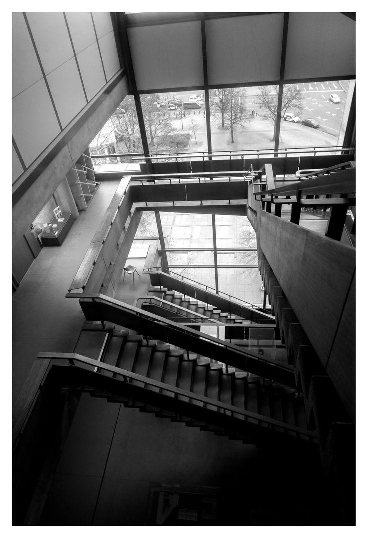 Technische Universitat Berlin, Berlin   Bernhard Hermkes and Hans Scharoun #staircase #technishe #university #berlin #germany #tuberlin #architecture #building #blackandwhite #greyscale #monochrome #bernardhermkes #hansscharoun