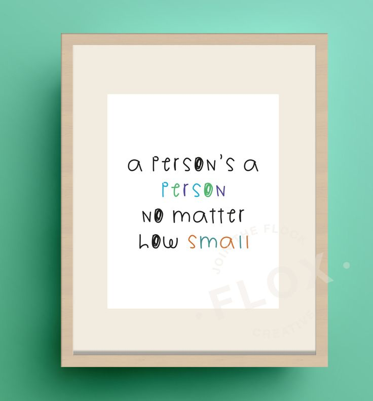 New to FloxCreative on Etsy: A person's a person no matter how small instant print PDF JPEG cute nursery baby children gift newborn quote text typography hipster rainbow (3.25 GBP)