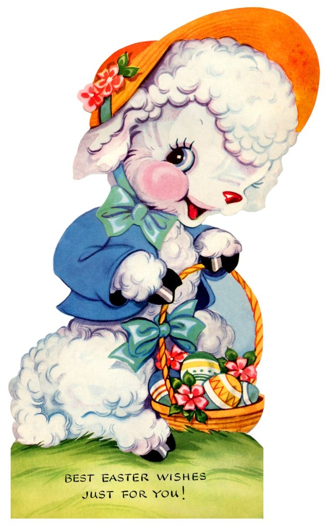 vintage easter card - a sweet little lamb