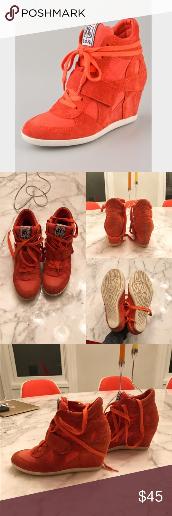 Ash Bowie Wedge Sneakers Bowie sneakers in orange suede from Ash. Super comfortable, this style has been seen on countless celebs. I am moving and need to clear out my closet - these are worn but have no flaws affecting wearability and could be cleaned easily by a professional. Size 38, best fits US 7. Ash Shoes