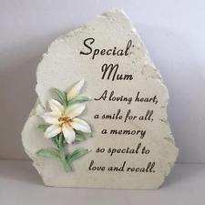 Special Mum LILY GRAVE PLAQUE Memorial Stone Effect Decoration Graveside Garden