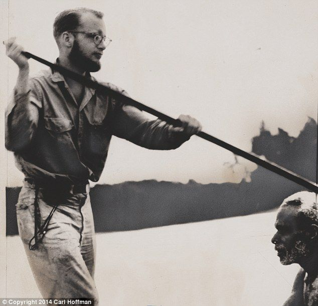 Michael Rockefeller in Hollandia, Dutch New Guinea, shown in a Asmat canoe shortly before his disappearance