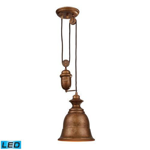 Elk Lighting Farmhouse Bellwether Pulley Adjustable Height Copper LED One Light Mini Pendant
