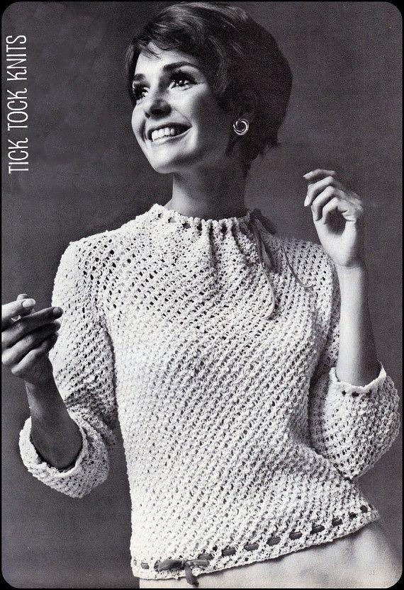 "No.97 PDF Vintage Knitting Pattern For Women - Velvet Ribbons & Lace Blouse - Finished Bust Sizes 34"", 36"", 38"", 40"", 42"", 44"" from Etsy Shop TickTockKnits ($3.50)"