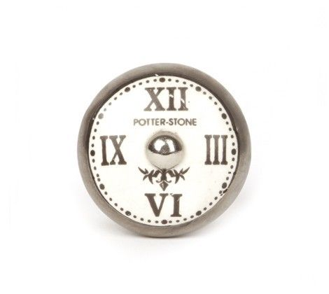 Möbelknopf - Keramik - Uhr  Aufdruck Potter Stone von LaFraiseRouge via dawanda.com