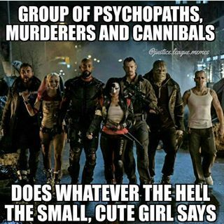 Double tap for Suicide Squad! Who else is excited as all hell for it? Group of psychopaths murders and cannibals... does whatever the hell the small cute girl says. #suicidesquad