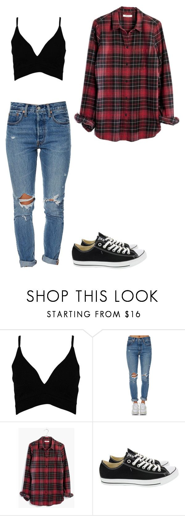 """Simple for the Summer"" by ifrancesconi on Polyvore featuring Boohoo, Levi's, Madewell and Converse"