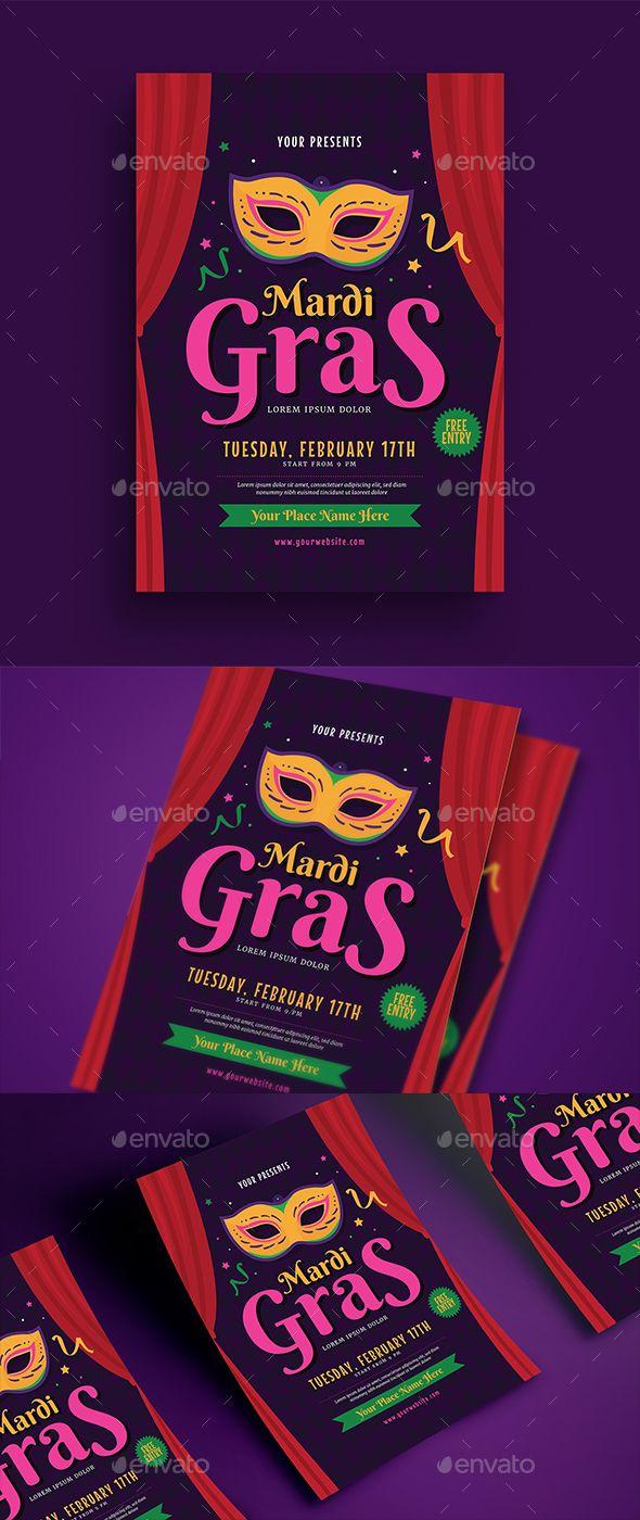Mardi Gras Event Flyer Template PSD, AI