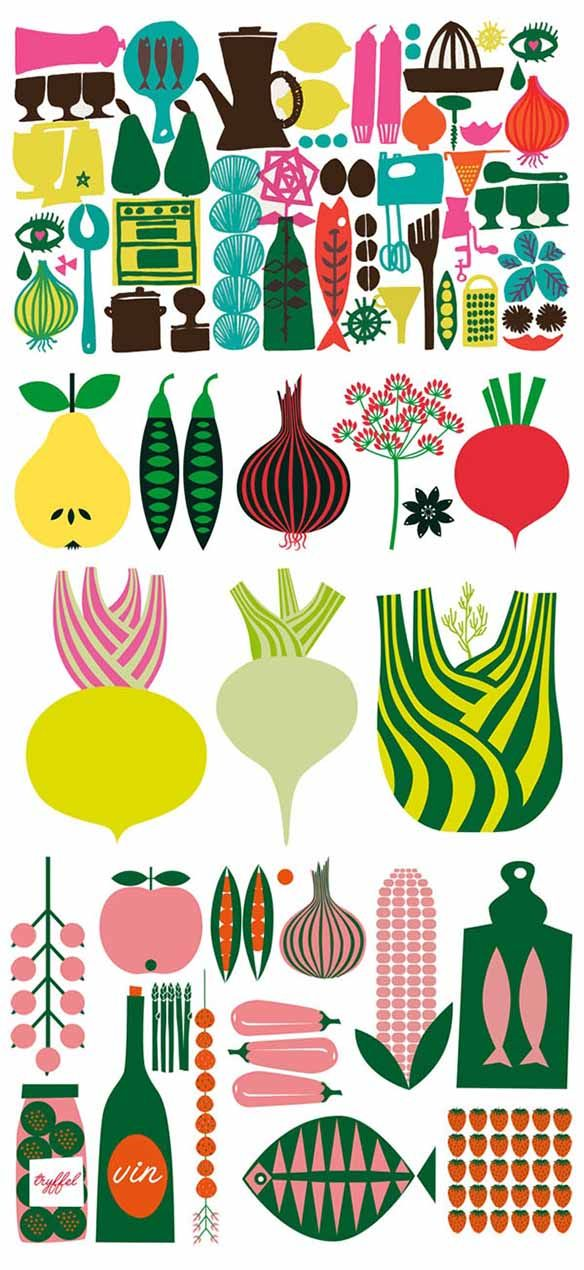 I like the bold, fun style of these illustrated foods. Colours are great too!