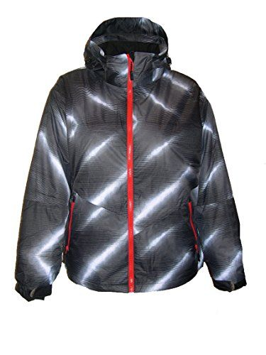 Fun black, white and red ski jacket for women, plus size
