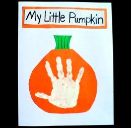 Add a white handprint in the middle of an orange pumpkin.
