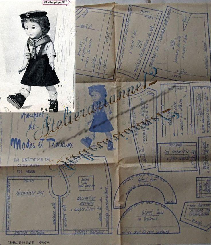 Patron original, poupée Marie Françoise MODES ET TRAVAUX, Décembre 1959 ❤   4